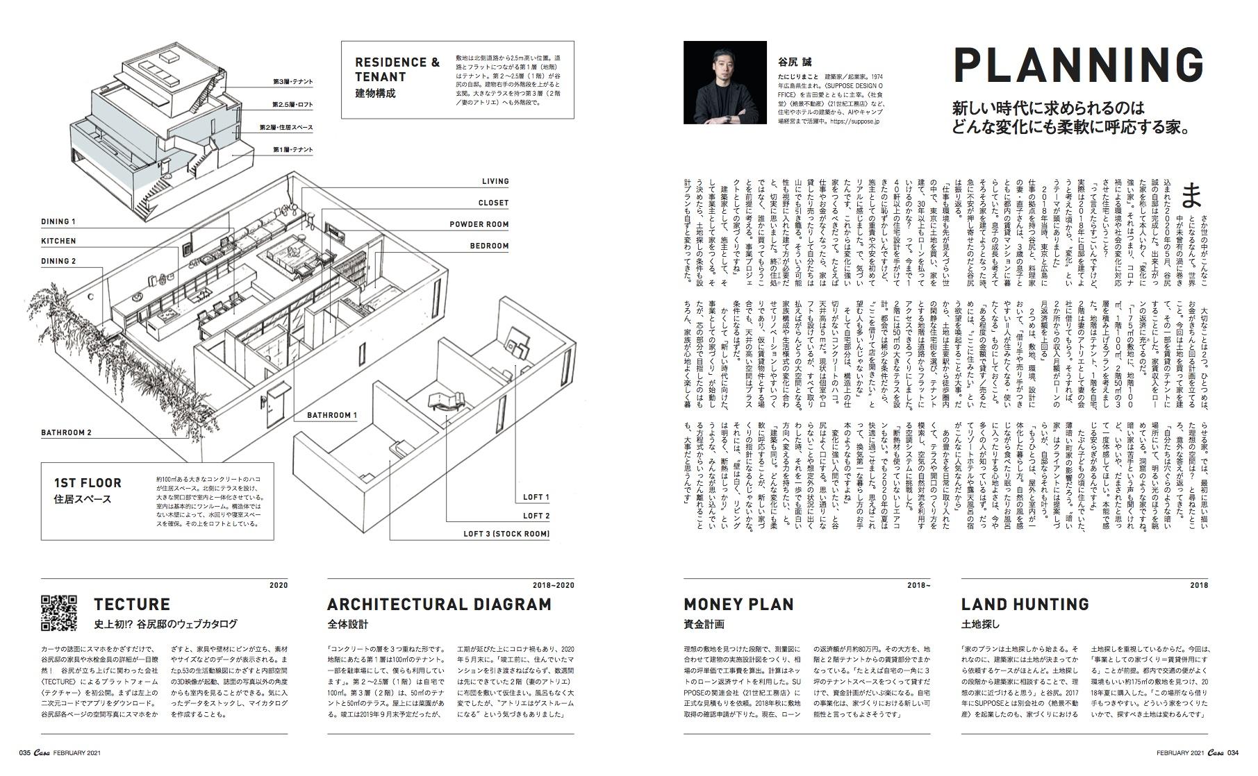 『Casa BRUTUS』2021年2月号(1月9日発売)誌面(P034-035)見開き ©︎マガジンハウス