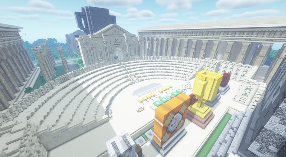 「Minecraft カップ 2020」Minecraft(マインクラフト:通称マイクラ)上の表彰式会場