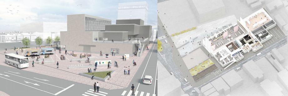 八戸市美術館 基本設計ビジュアル(西澤徹夫建築事務所・タカバンスタジオ設計共同体)