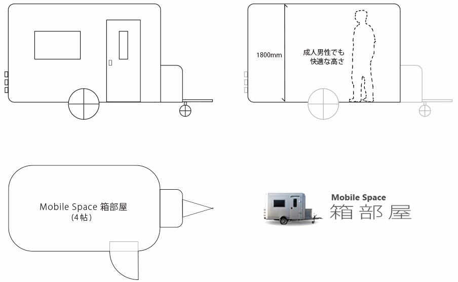 モバイルハウス〈Mobile Space 箱部屋(モバイルスペース ハコベヤ)〉