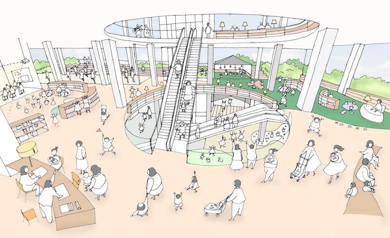 茨木市民会館跡地整備計画イメージ(2020年8月発表時)