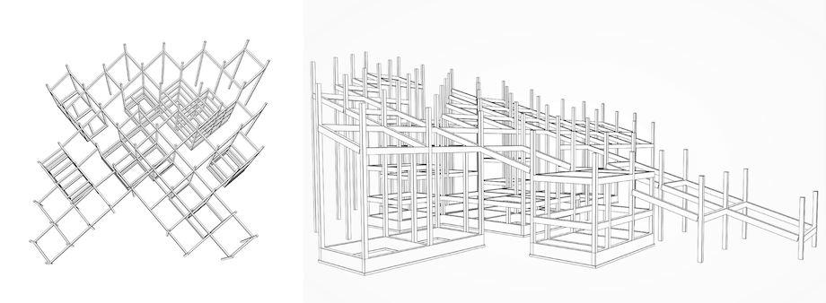 「パビリオン・トウキョウ2021」藤原徹平+フジワラテッペイアーキテクツラボ「ストリート ガーデン シアター」架構図