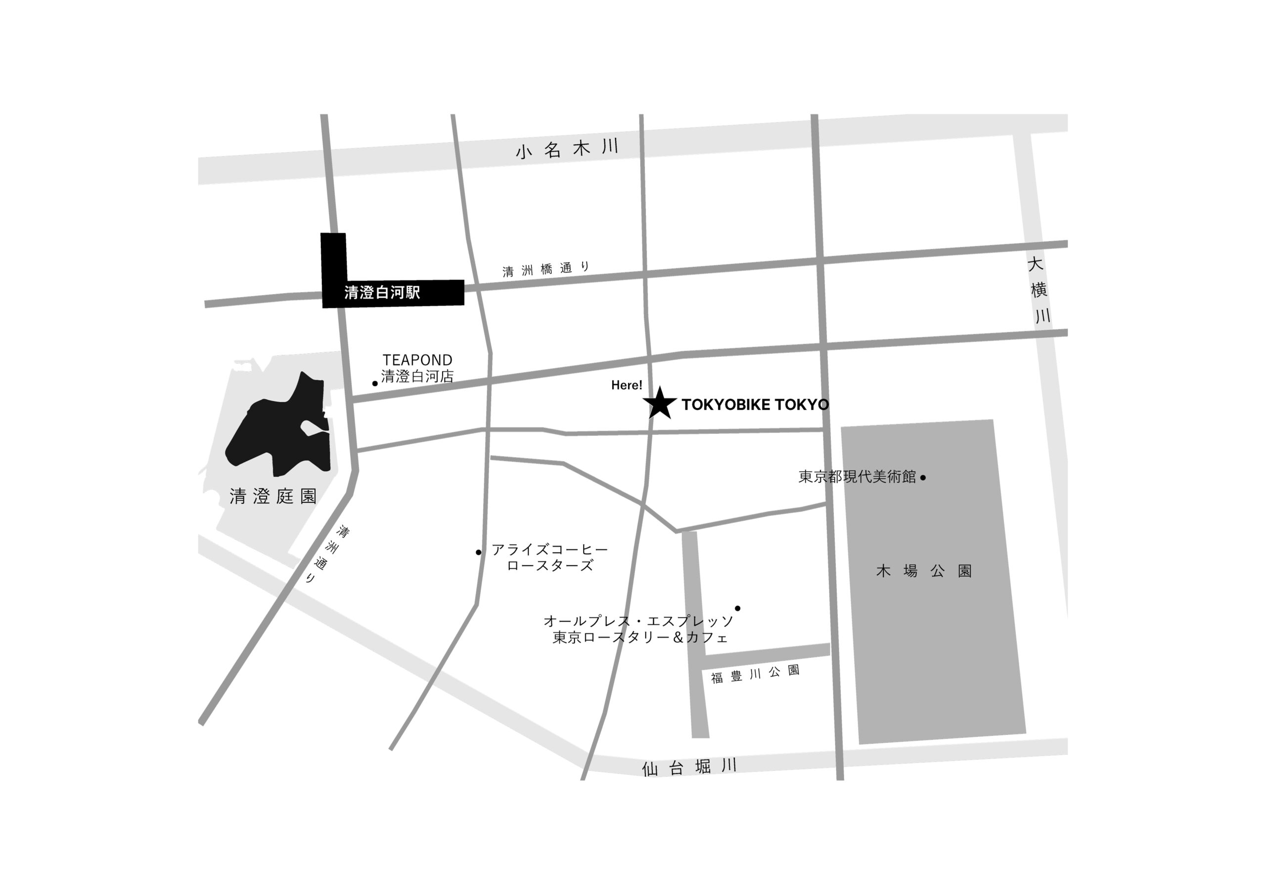 〈TOKYOBIKE TOKYO〉周辺 清澄白河エリアマップ
