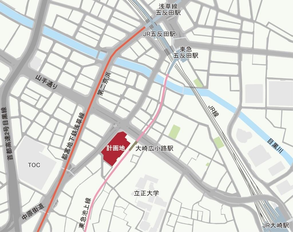旧ゆうぽうと再開発「五反田計画(仮称)」周辺MAP