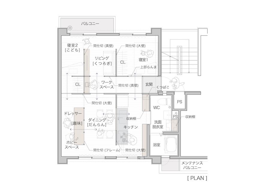 茶⼭台団地 改修案(三輝・ STUDIO RAKKORA ARCHITECTS共同企業体)